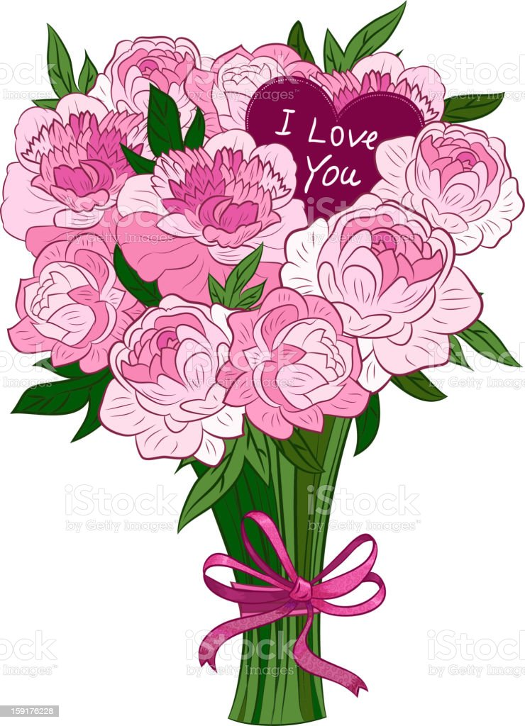 pink peonies royalty-free stock vector art