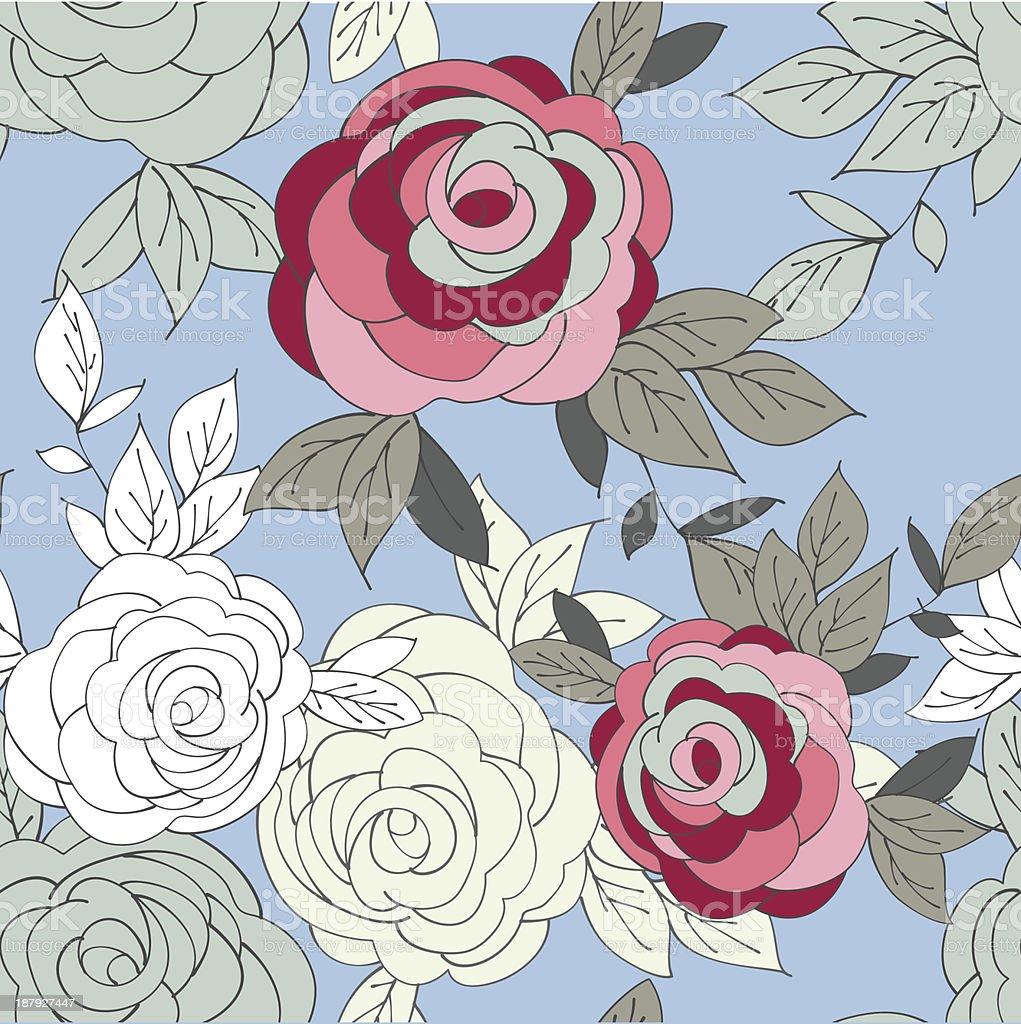 Flor sem costura padrão rosa com Peônia vetor e ilustração royalty-free royalty-free