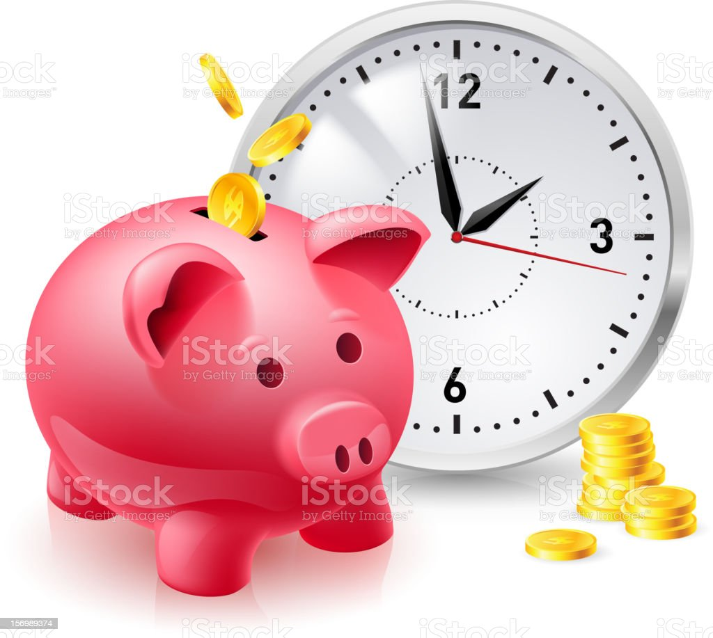 Pink pig bank with coins and clock stock photo