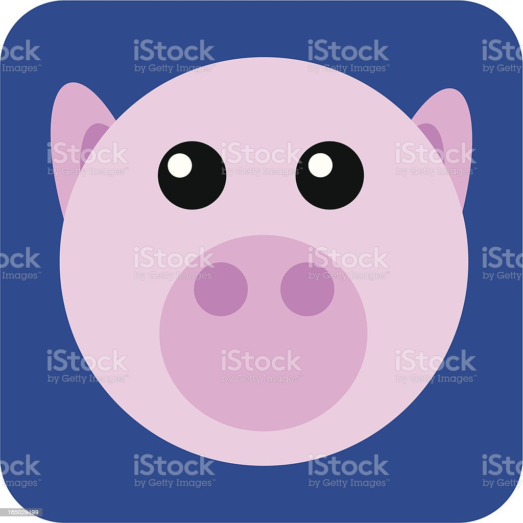 pink pig from 'bubble series' vector art illustration