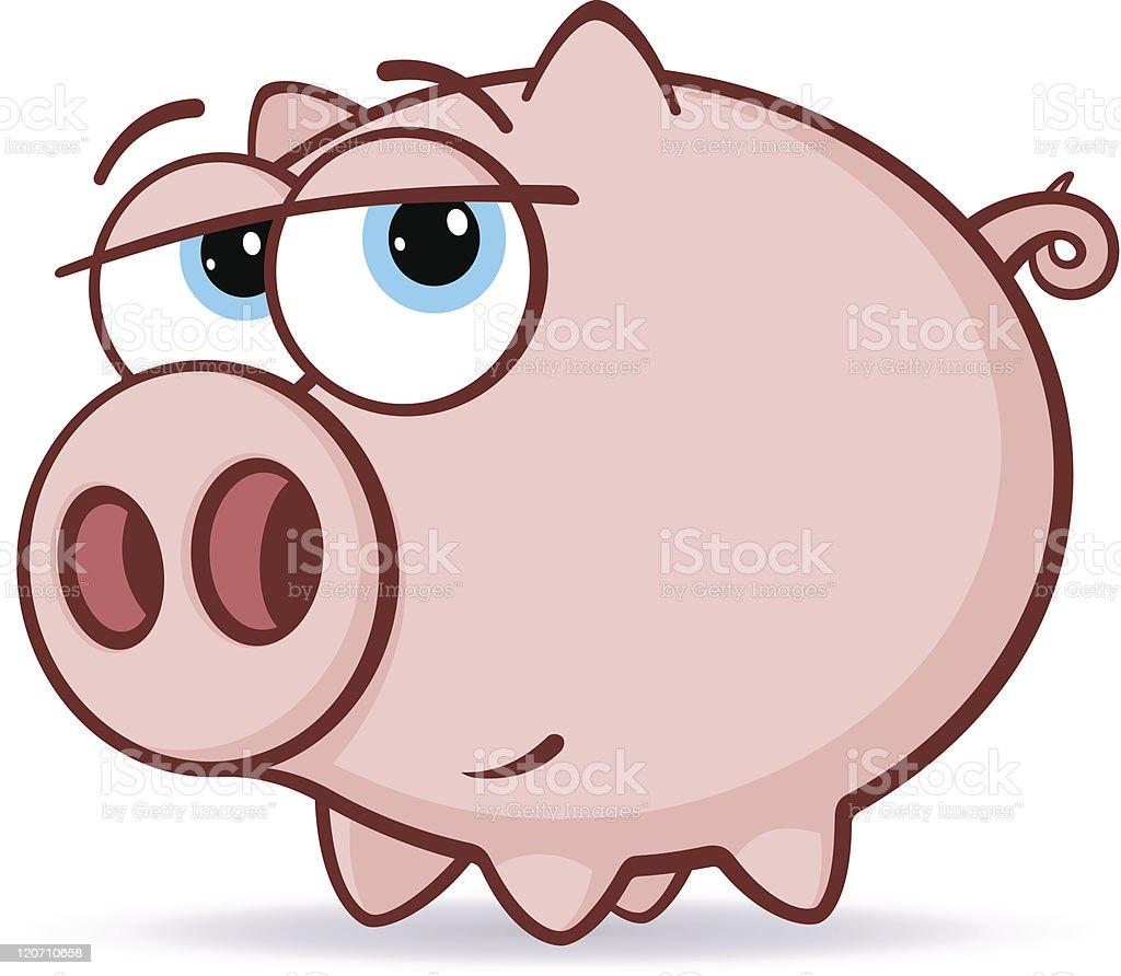 Pink Pig Illustration vector art illustration