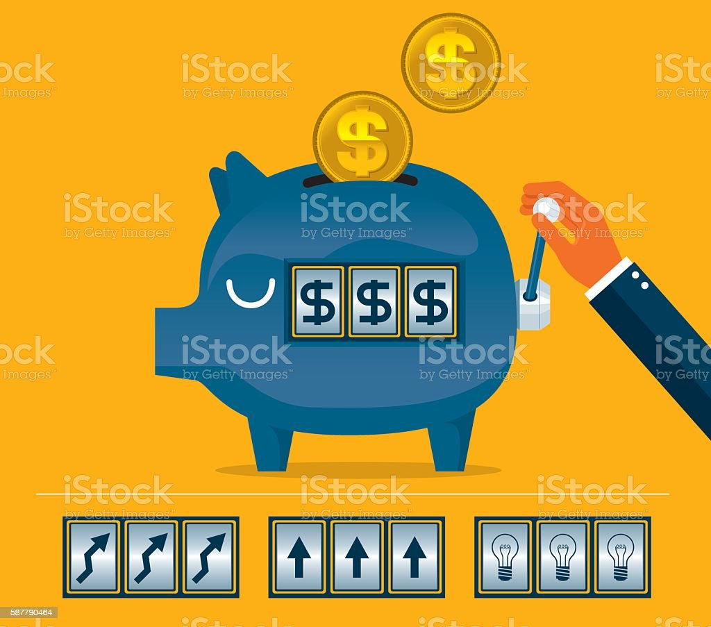 Pink piggy bank slot machine vector art illustration