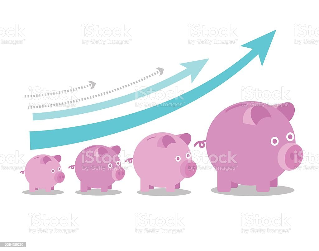 Pink piggy banks increasing in size with growth arrows. vector art illustration