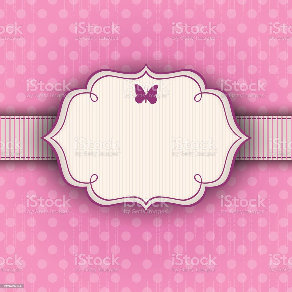 pink polkadot vintage background with a frame stock vector