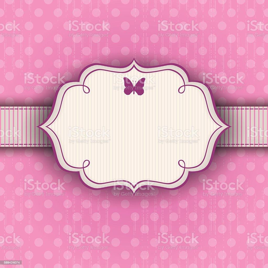 Pink polka-dot vintage background with a frame vector art illustration