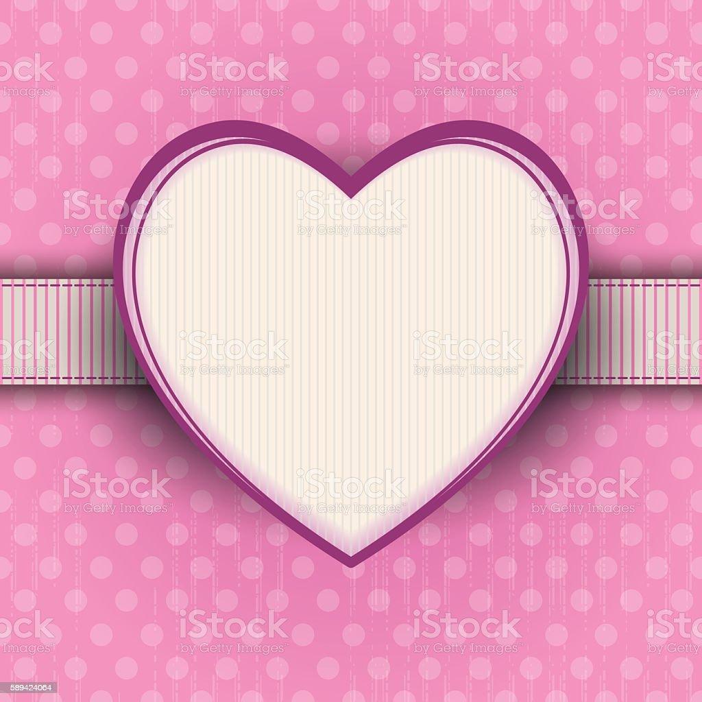 Pink polka-dot vintage background with heart frame vector art illustration