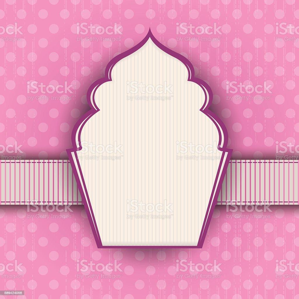 Pink polka-dot vintage background with muffin shaped frame vector art illustration