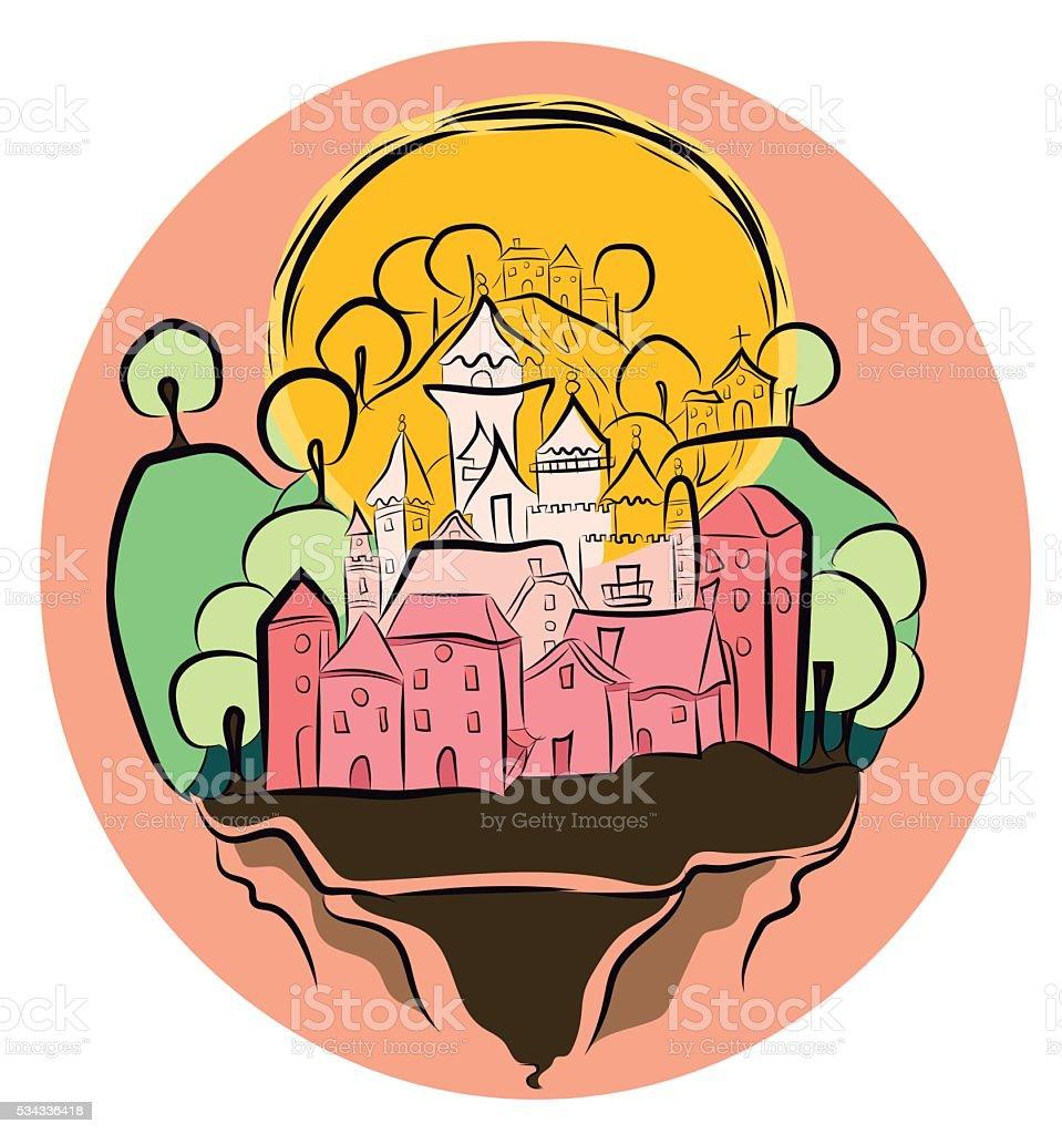 Pink pricess castle vector art illustration