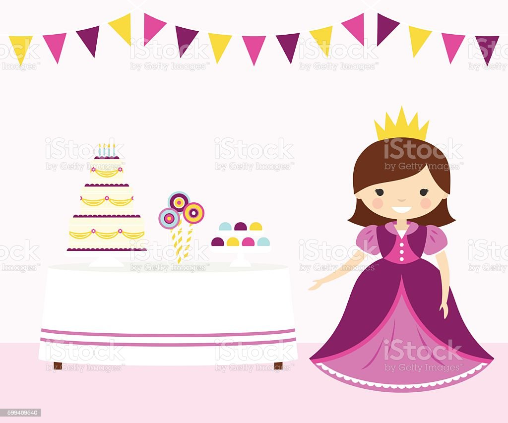 Pink Princess Party vector art illustration
