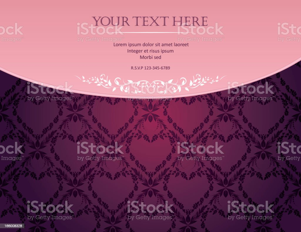 Pink Purple Damask Pattern With Ornate Frame royalty-free stock vector art