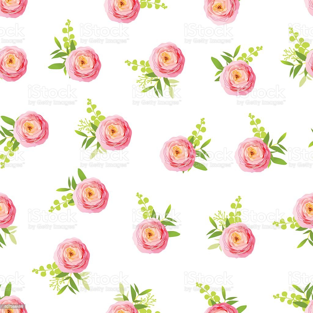 Pink ranunculus on white background seamless vector print vector art illustration