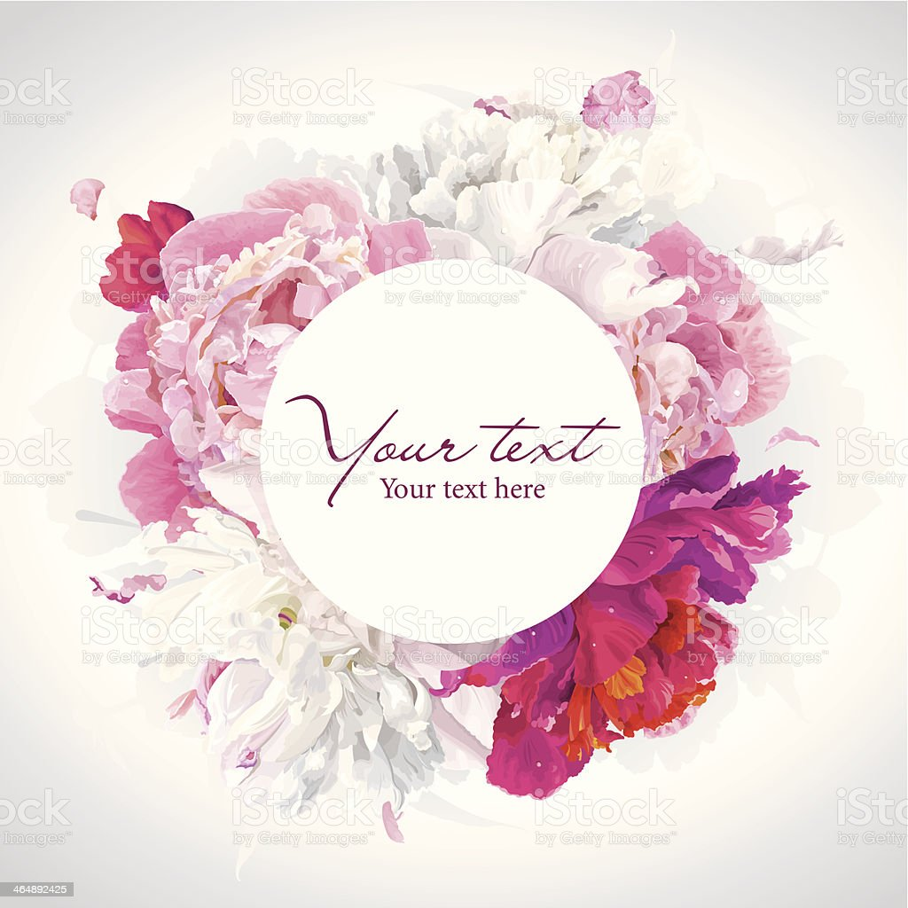 Pink, red and white peony background vector art illustration