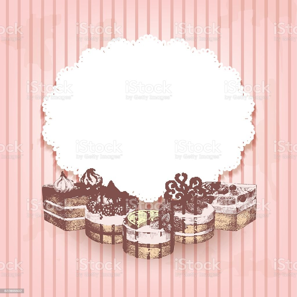 Pink retro background with hand drawn cakes vector art illustration