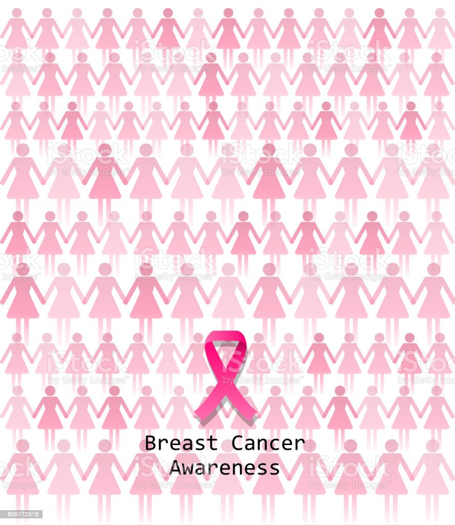 Pink ribbon awareness vector art illustration
