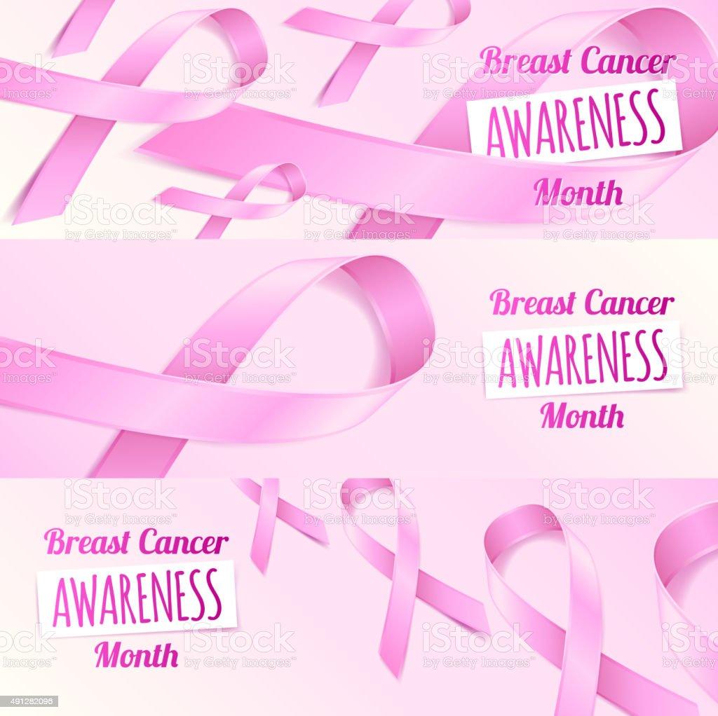 Pink ribbon breast cancer awareness symbols banners set vector art illustration