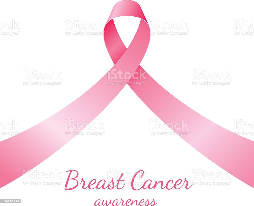 Pink ribbon, breast cancer awareness vector art illustration