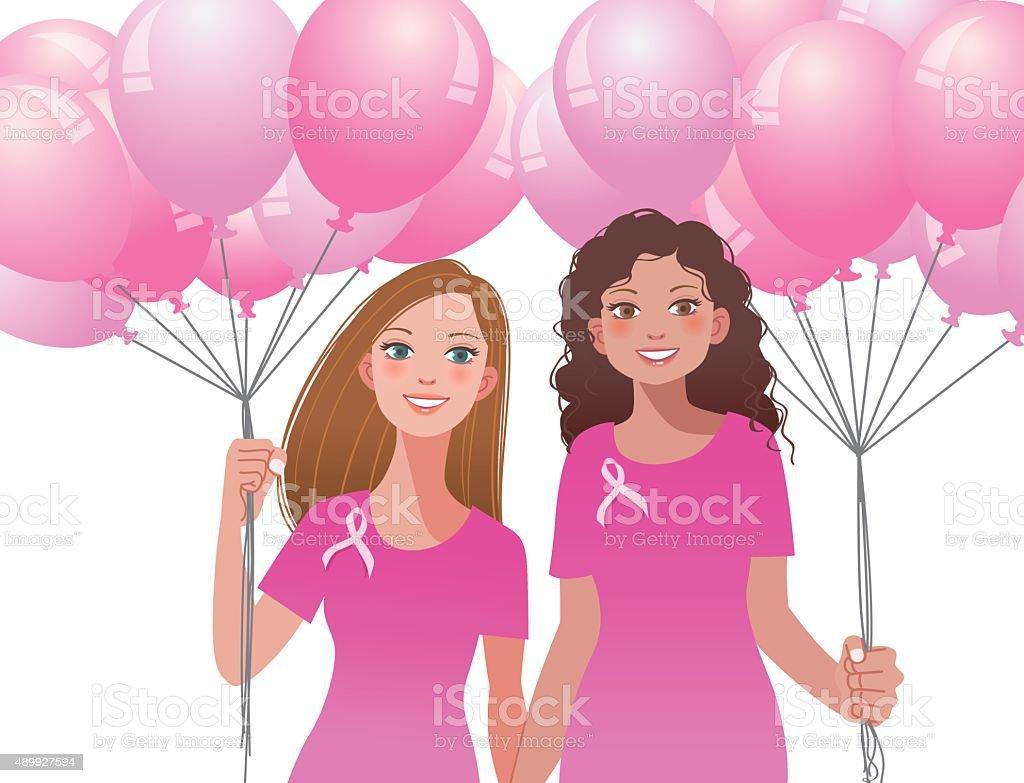 Pink ribbon concept - woman holding pink balloons vector art illustration