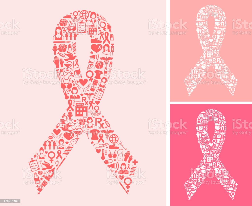 Pink Ribbons Set and Breast Cancer Awareness Month vector art illustration