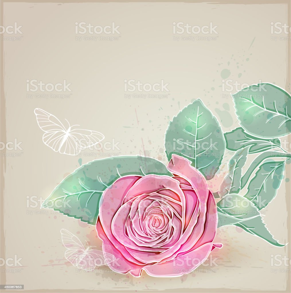 Pink rose royalty-free stock vector art