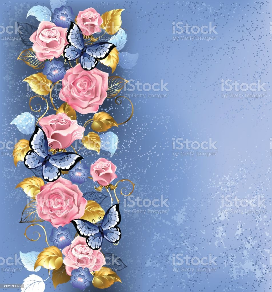Pink roses and butterflies vector art illustration