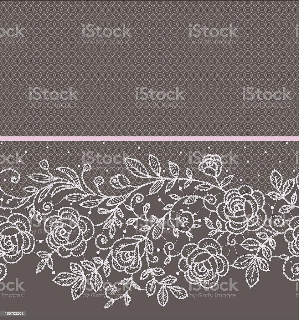 Pink roses lace horizontal Seamless Pattern. vector art illustration