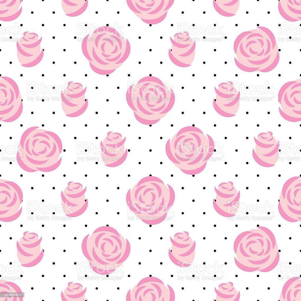 pink roses pattern on polka dots background floral