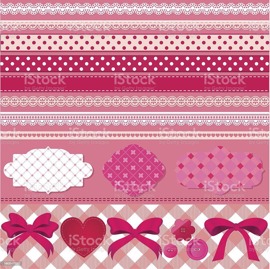 pink scrapbook set royalty-free stock vector art