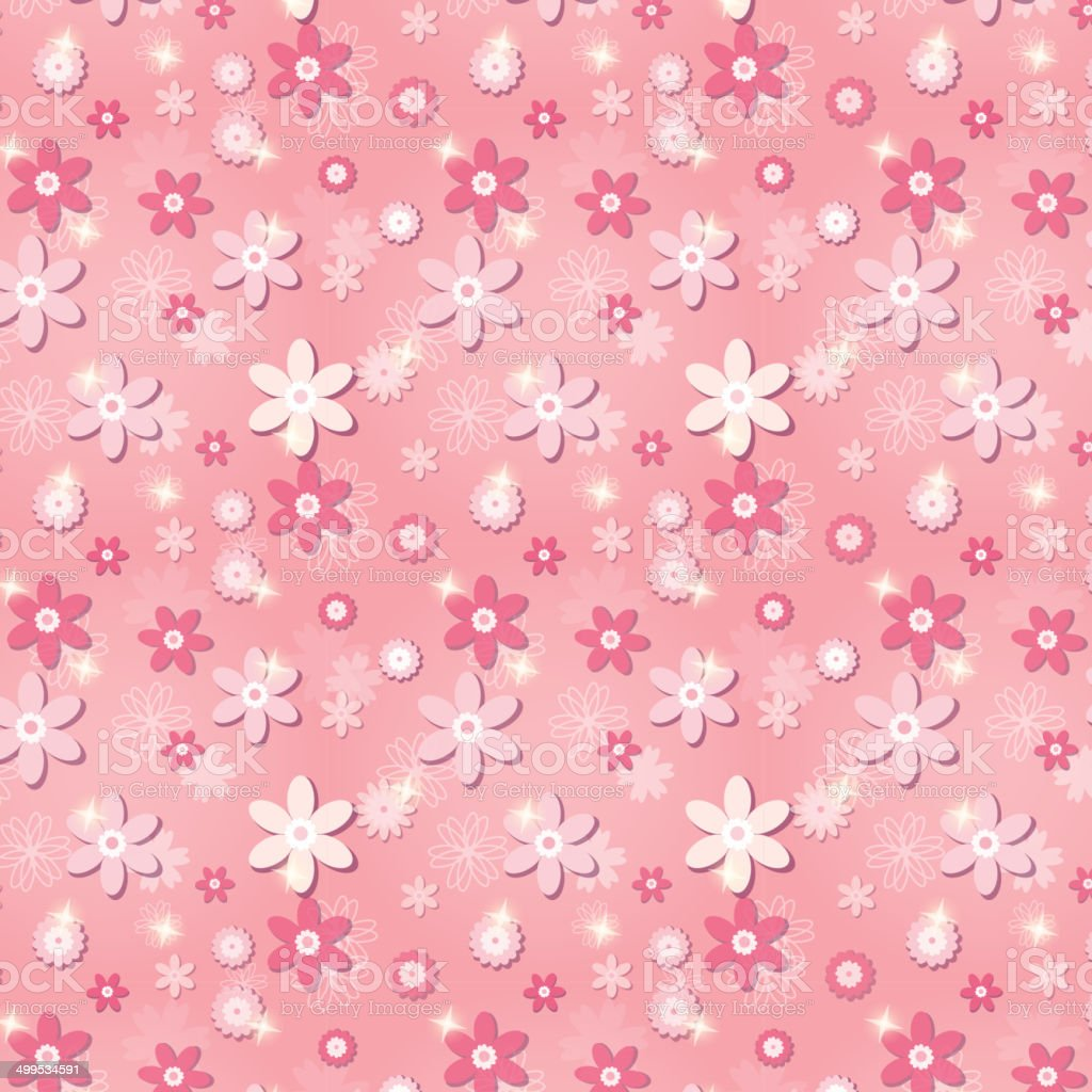 Pink seamless pattern with flowers and stars vector art illustration