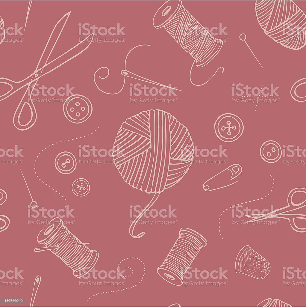 Pink seamless pattern with sewing motifs vector art illustration