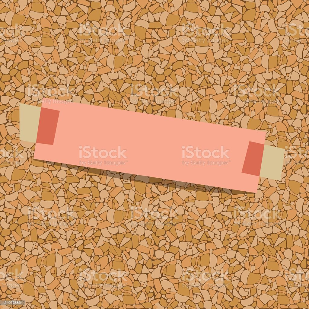pink sheet of paper for notes taped to a corkboard vector art illustration