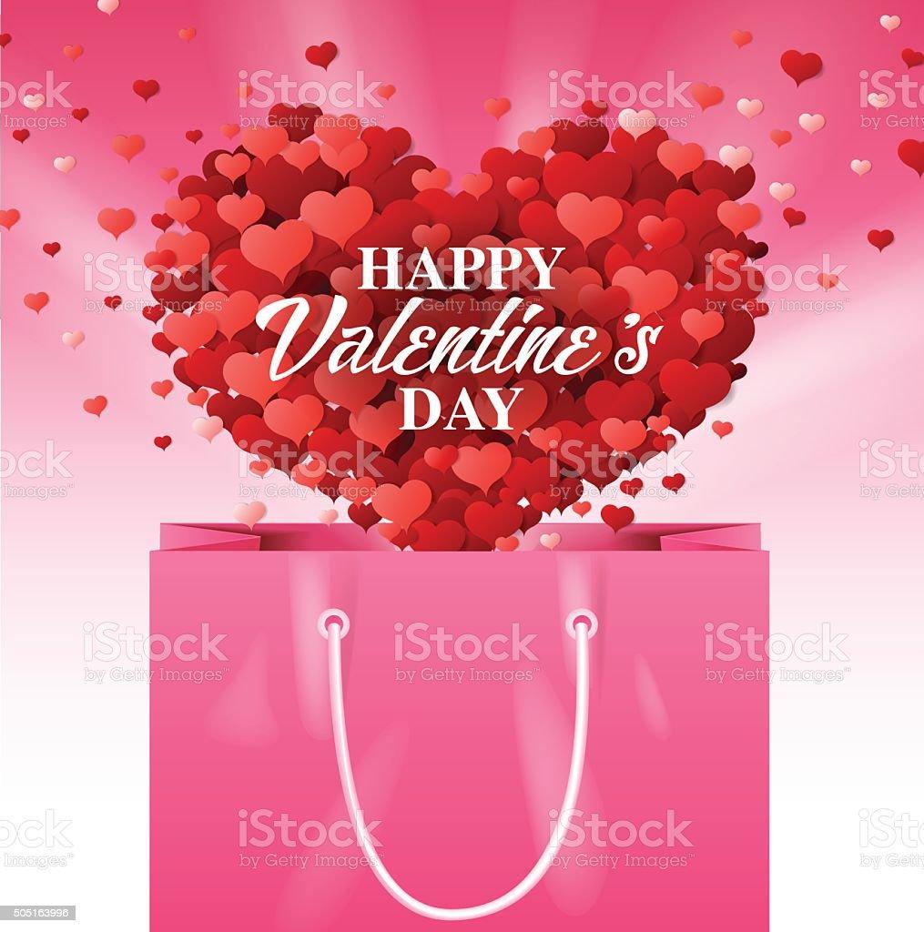 pink shopping bag, valentines day, vector vector art illustration