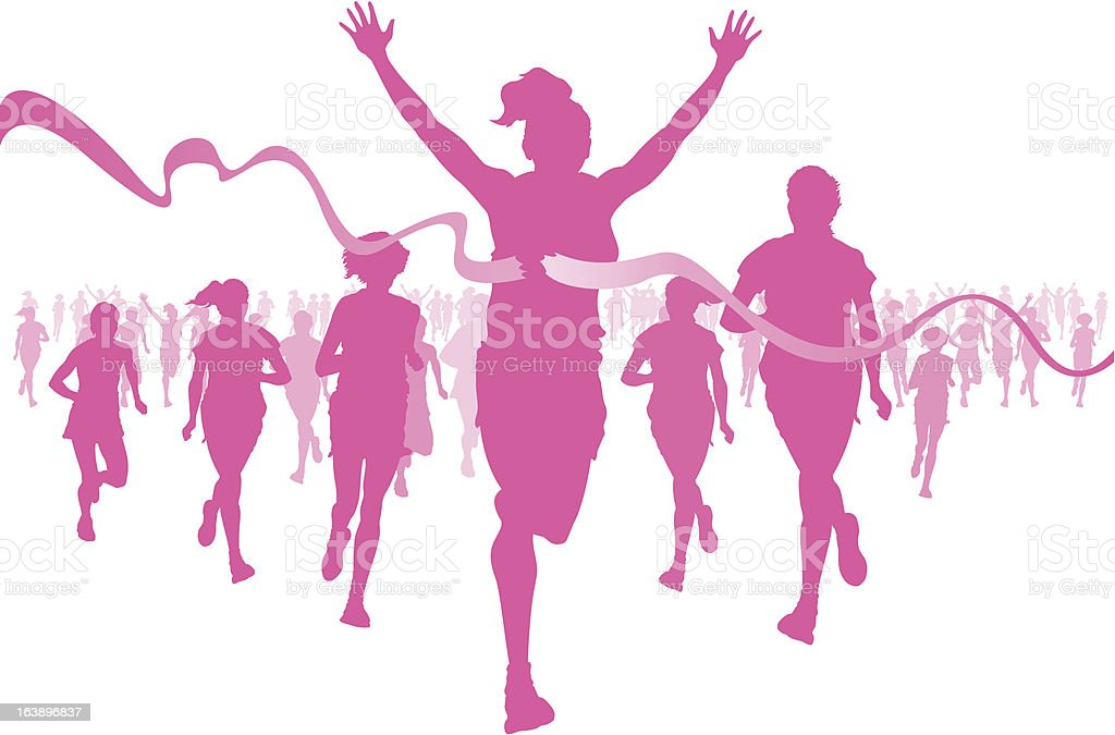 Pink silhouettes of women running, crossing the finish line royalty-free stock vector art