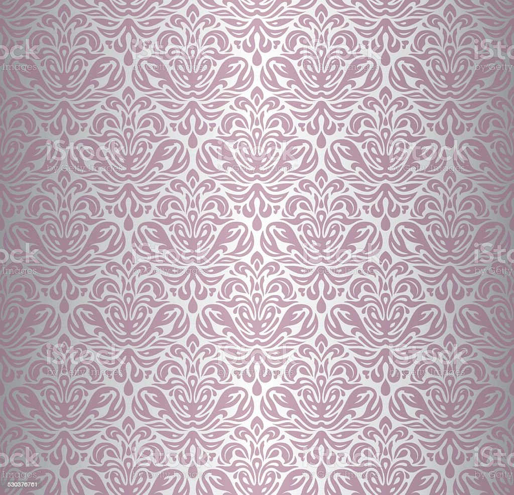 Pink & silver renaissance pattern  vintage wallpaper vector art illustration