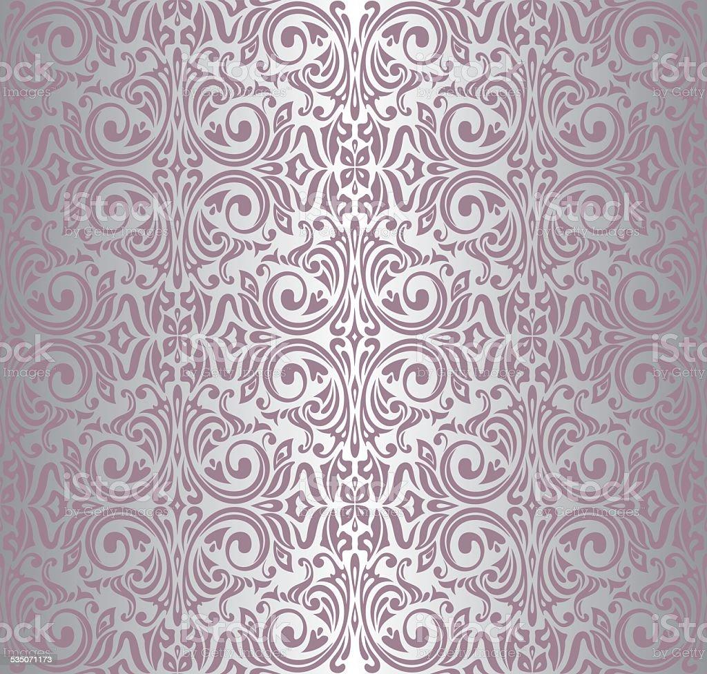 pink & silver vintage wallpaper vector art illustration