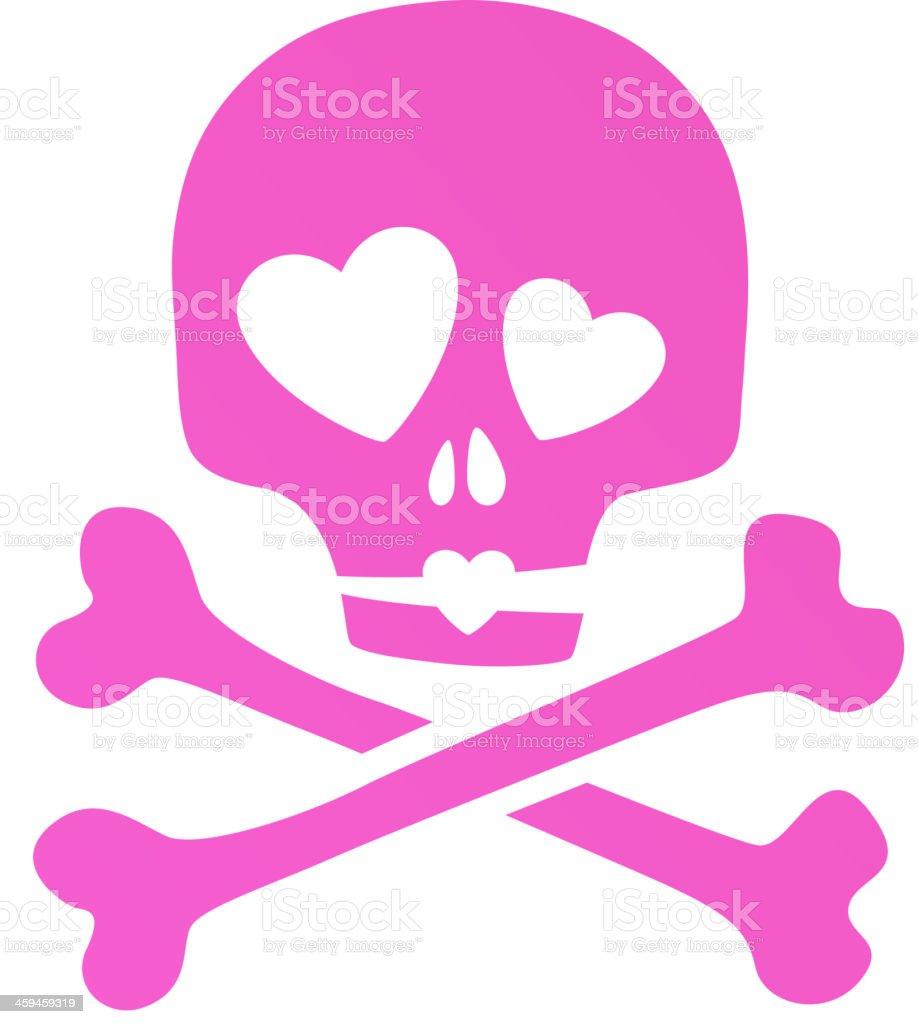 Pink skull in love ironic icon. vector art illustration