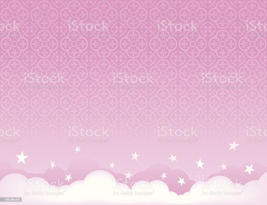 pink sky Background illustration with stars vector art illustration