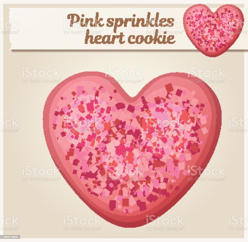 Pink sprinkles heart cookie illustration. Cartoon vector icon. Series of food and drink and ingredients for cooking vector art illustration