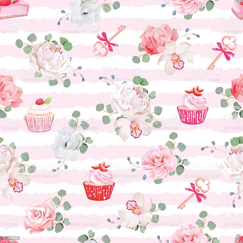 Pink striped seamless vector pattern with pastries, bouquets of flowers vector art illustration