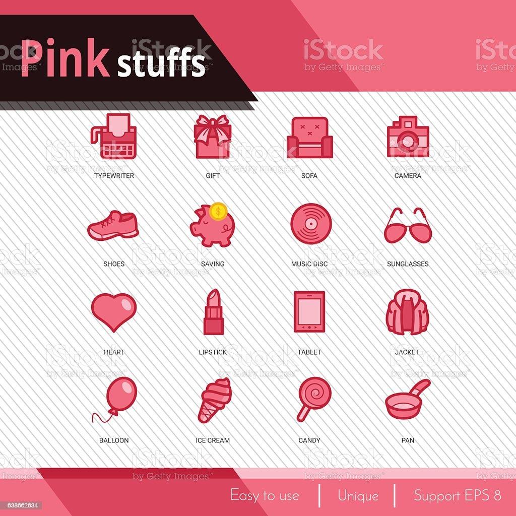 Pink stuffs vector icons set on white background.  Premium quali vector art illustration