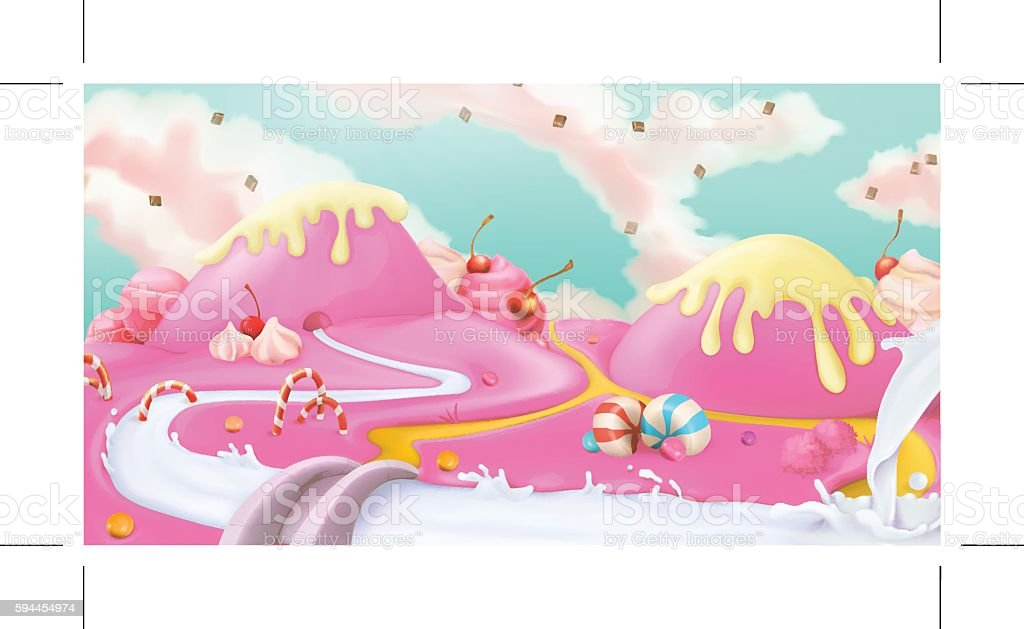 Pink sweet landscape, vector background vector art illustration