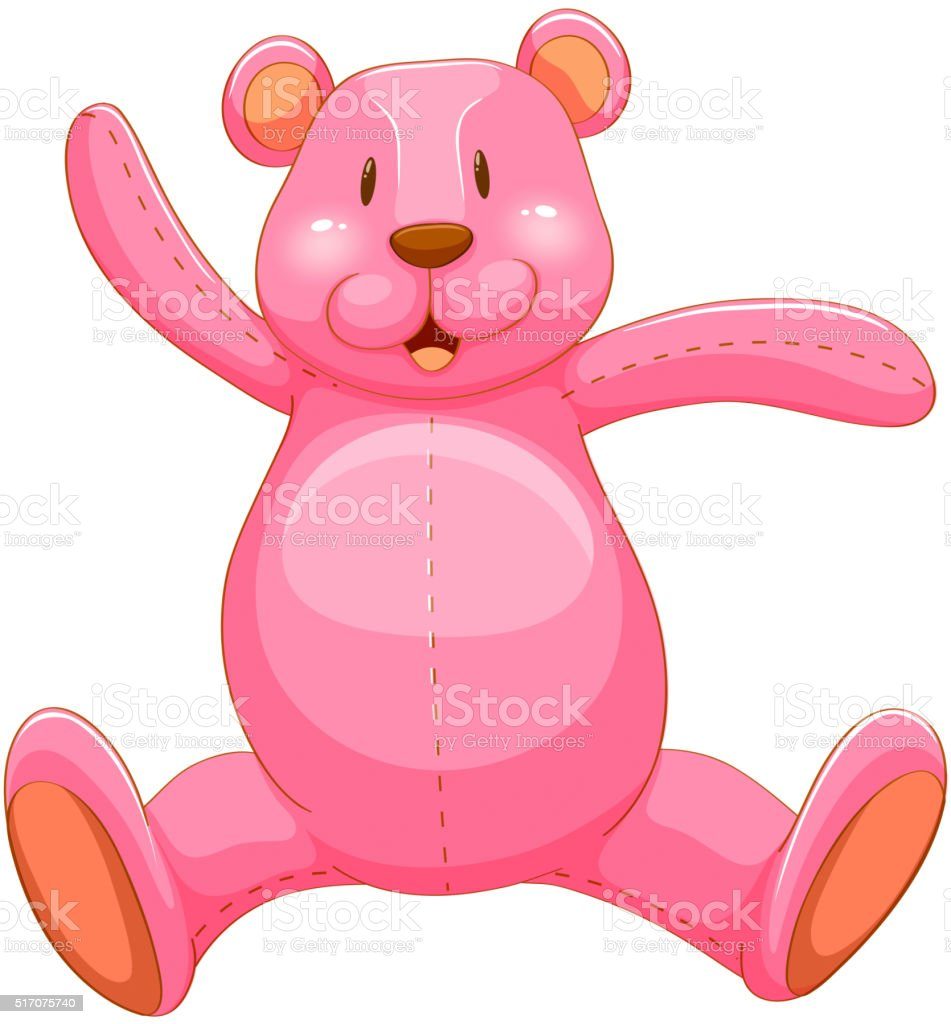 Pink teddy bear with happy face vector art illustration