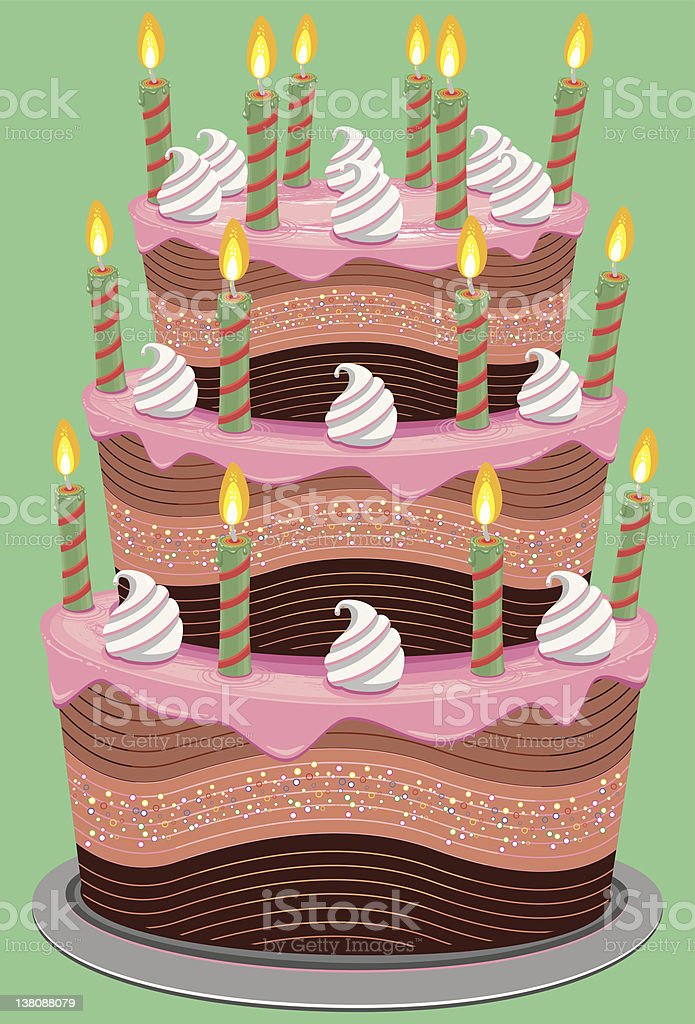 Pink Three Tier Birthday Cake vector art illustration