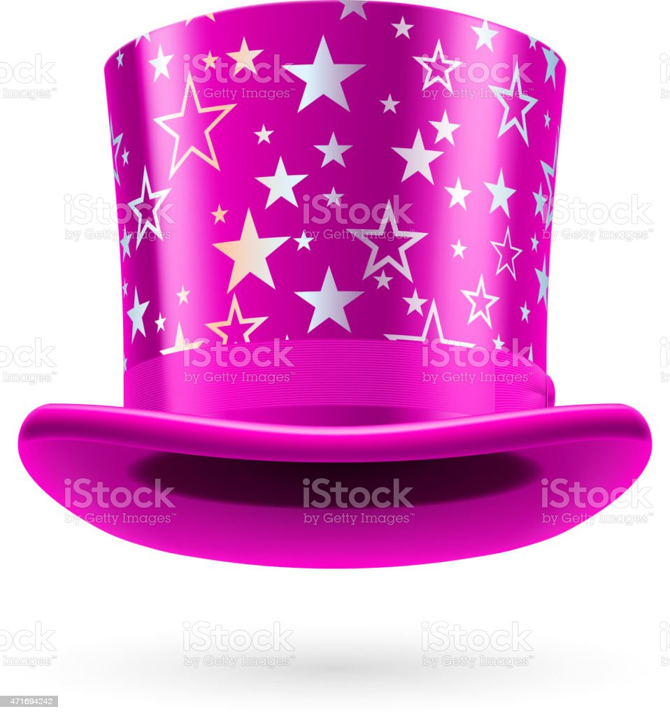 Pink top hat with stars on a white background vector art illustration
