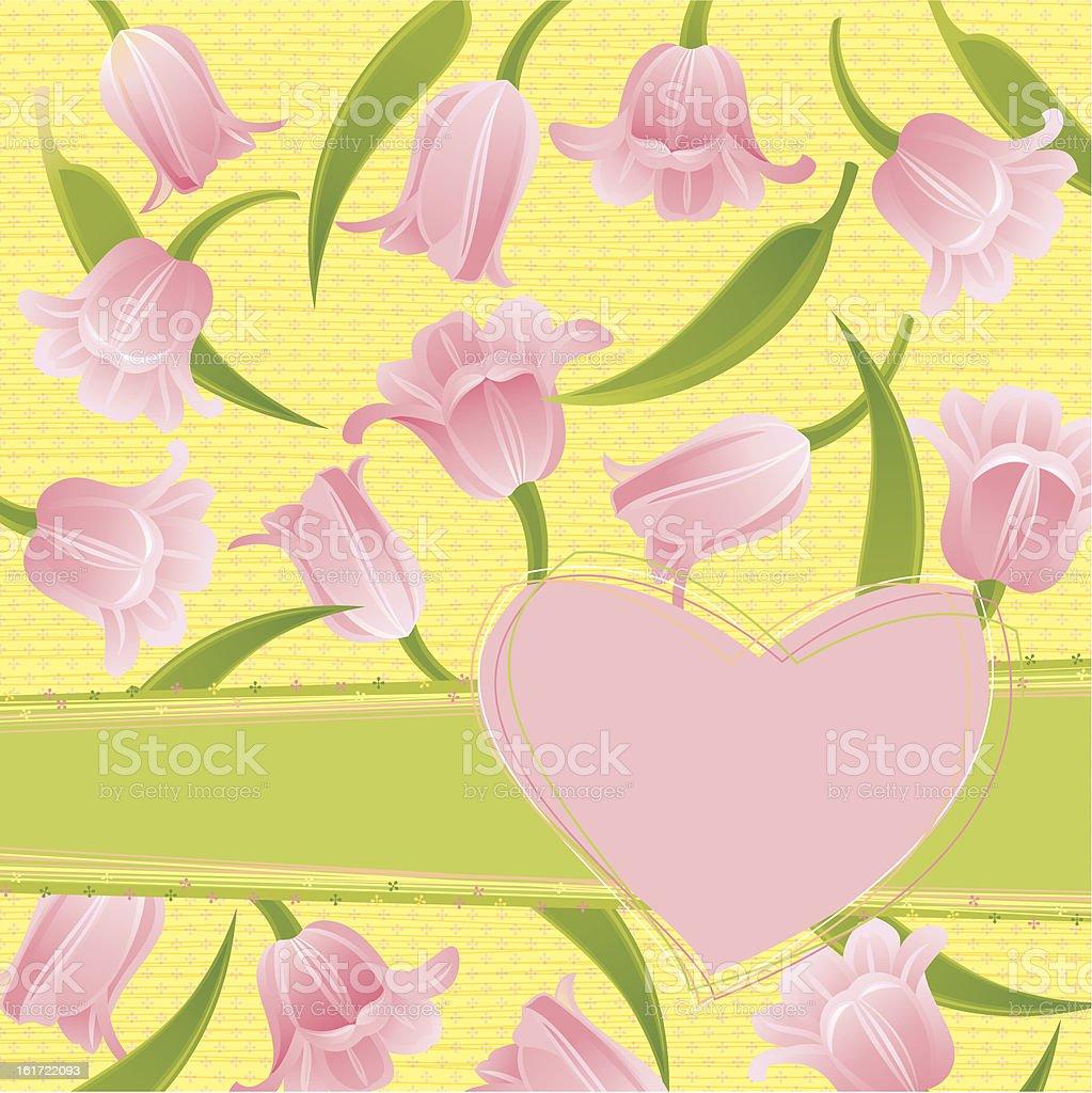 Pink Tulips Invitation royalty-free stock vector art