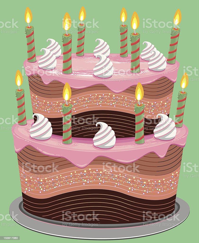 Pink Two Tier Birthday Cake vector art illustration