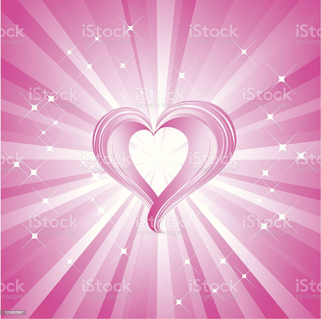 Pink valentines heart vector art illustration
