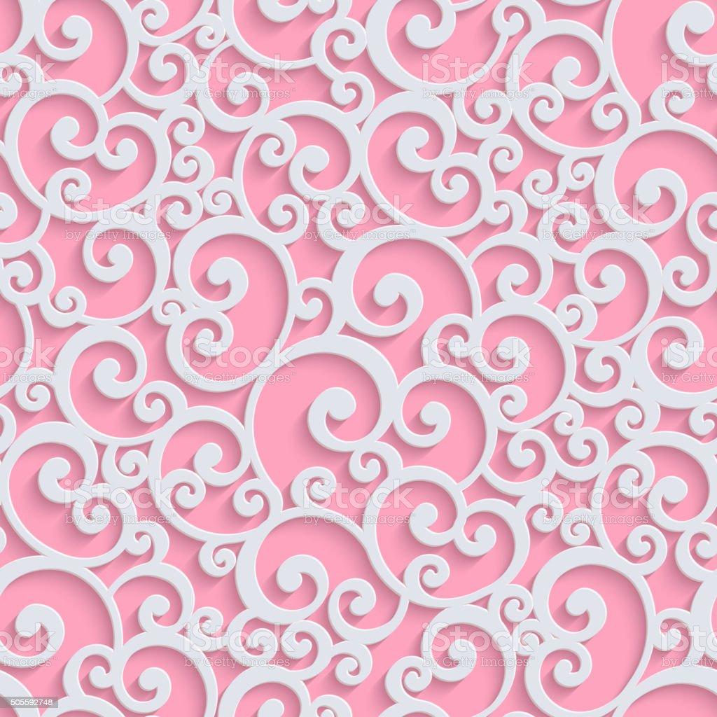 Pink Vector 3d Floral Damask Seamless Pattern vector art illustration
