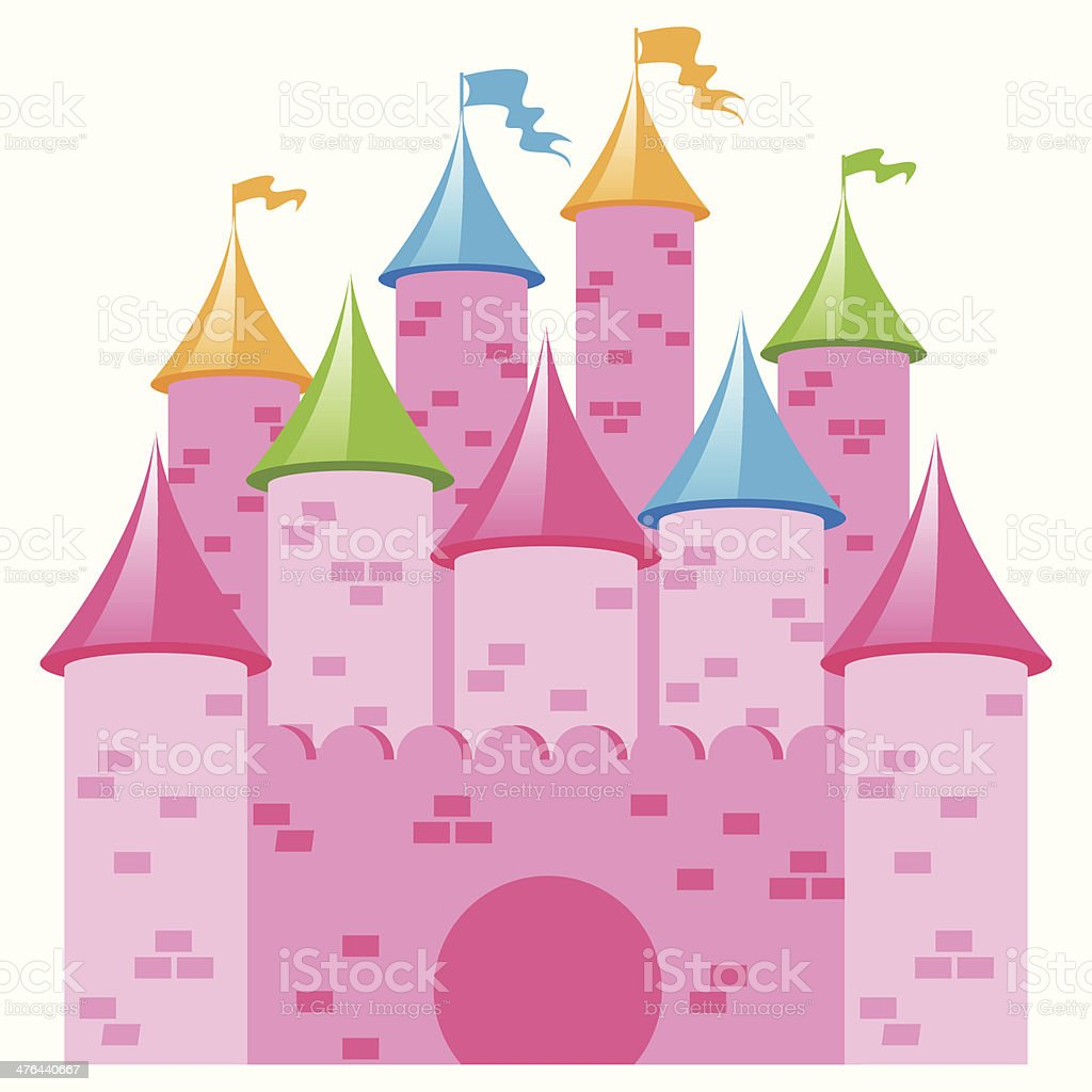 Pink Vector Castle with Multicolored Towers and Flags royalty-free stock vector art