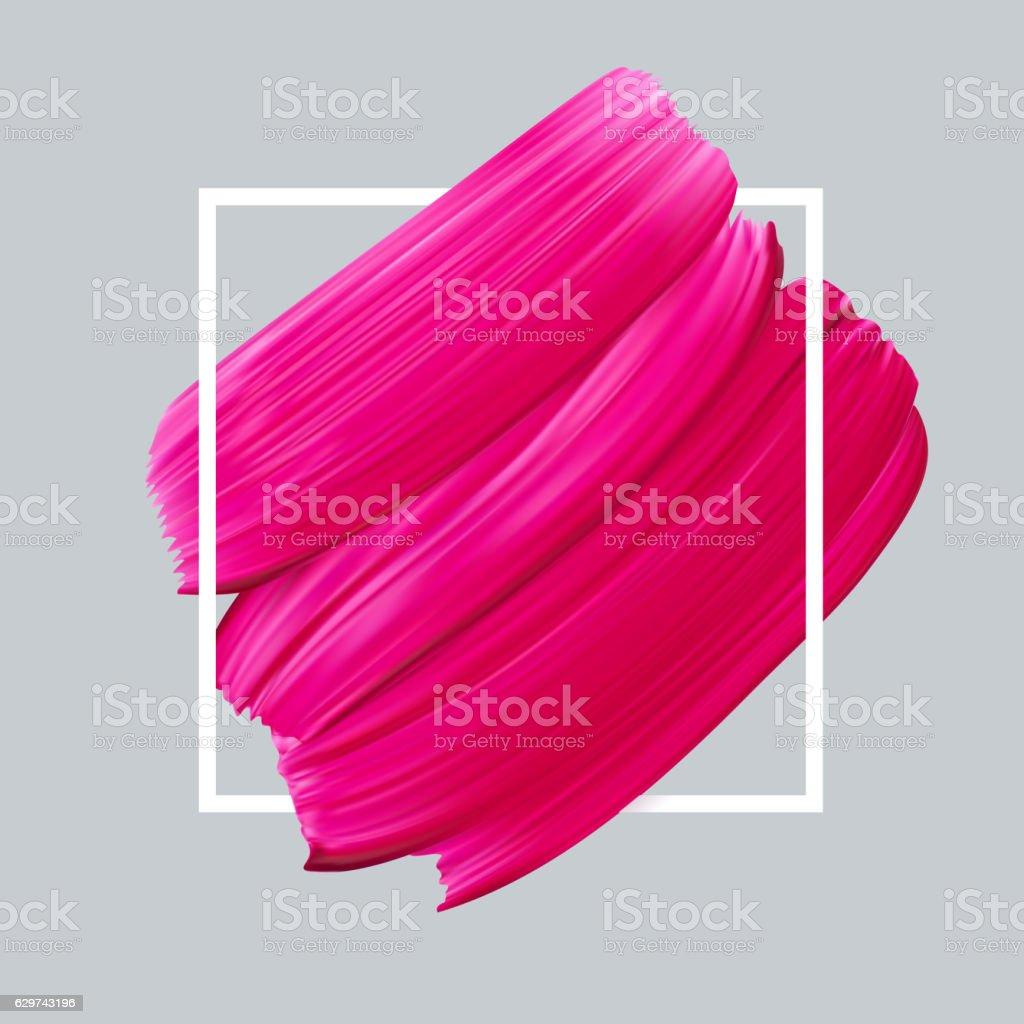 Pink vector lipstick smear on white background vector art illustration