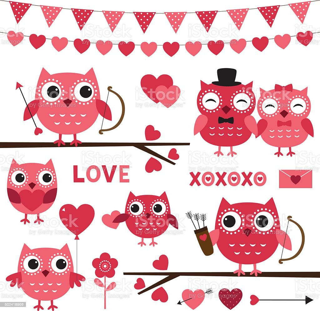 Pink vector Valentine owls and romantic decoration set vector art illustration